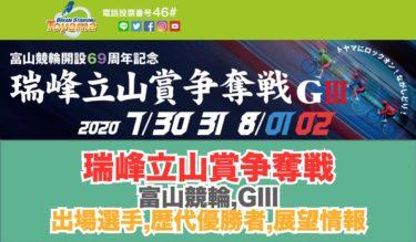 富山G32020/7/23~26瑞峰立山賞争奪戦展望情報,出場選手,バンク特徴:68周年記念競輪